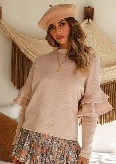 Palba Ruffle Long Sleeve Sweater (Biege), casual dress,maternity dress,pregnant dress,ootd,fashion Clothing,womens clothes,fashion blog,fashion trends,Streetwear ,Stand Out ,Sexy Trend, Online Shopping