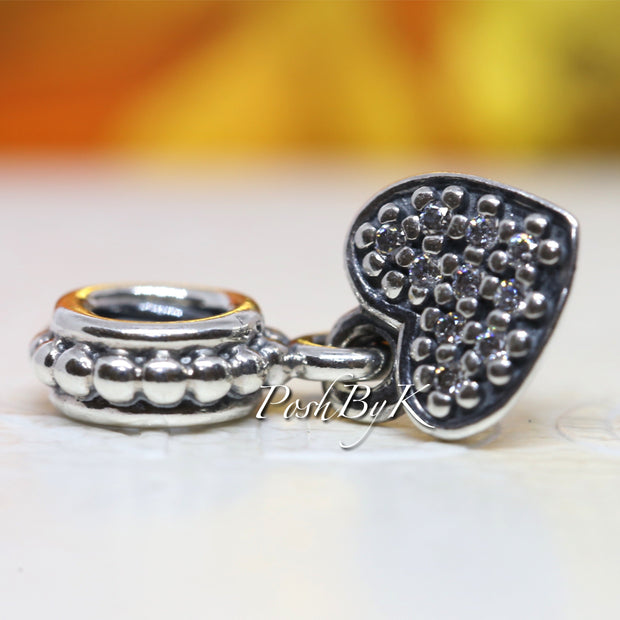 Pandora Heart Pave Clear CZ Bead Dangle Charm 791023CZ *Retired* - Posh By K