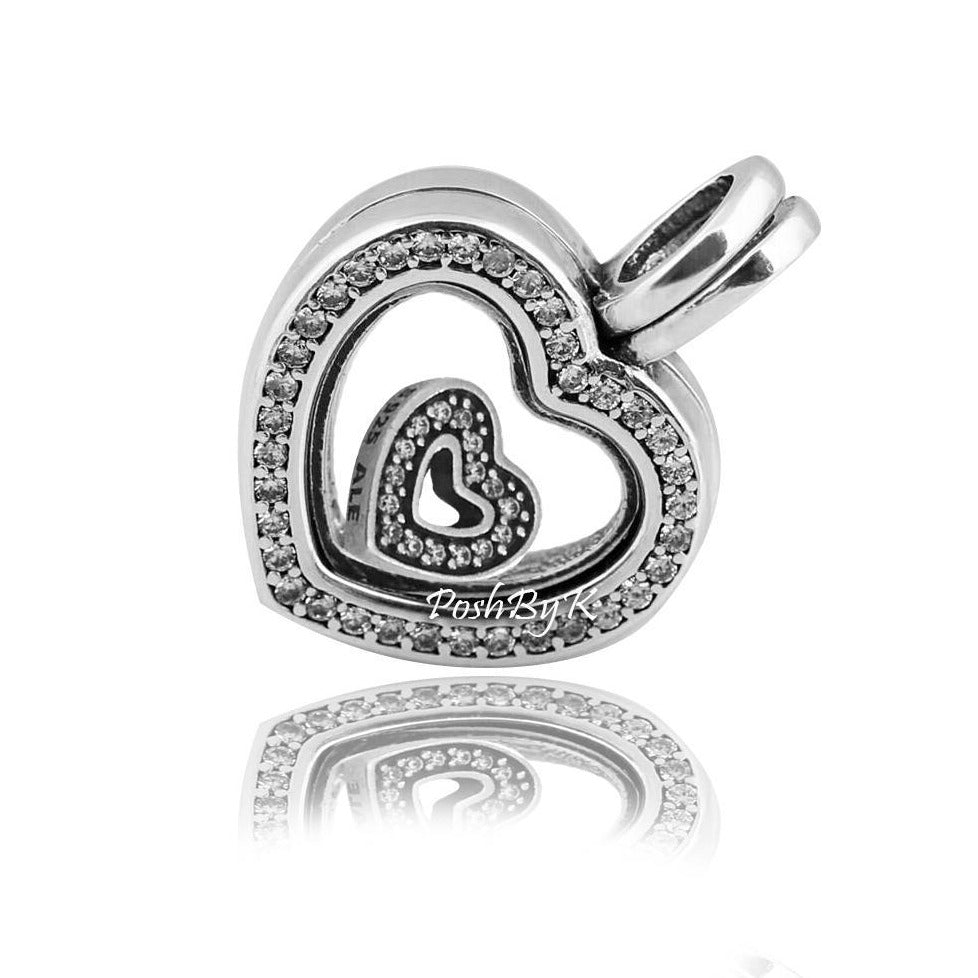 Pandora Floating Heart Locket Charm 797248CZ and Captured Heart Petite 792163CZ - Posh By K