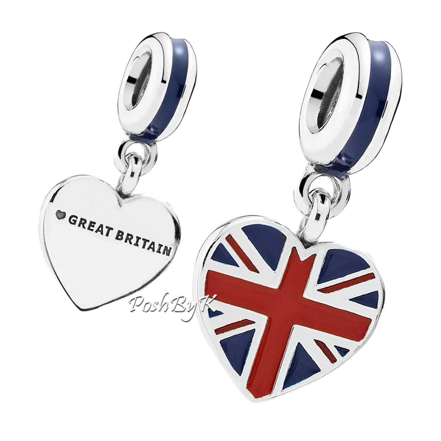 Pandora Great Britain Heart Flag Charm 791512ENMX - Posh By K