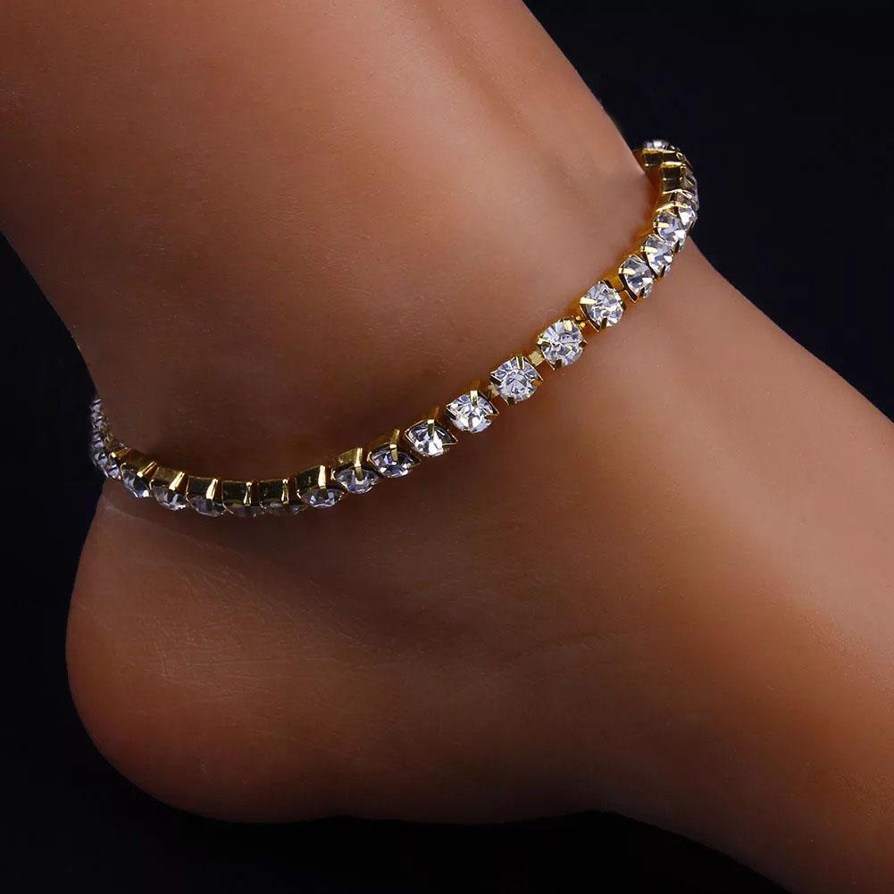 Bling Bling CZ Crystal Rhinestone Tennis Ankle Bracelet (Gold), fashion anklet, ootd, trending anklet, sexy anklet, ankle jewelry, body jewelry, street fashion