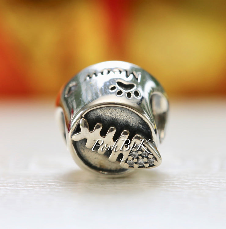 Pandora Meow Cat Bowl Sterling Silver Bead Charm 791716CZ - Posh By K