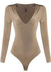 Jodi V Neck Long Sleeve Bodysuit (Khaki), ootd,fashion Clothing,womens clothes,fashion blog,fashion trends,Streetwear ,Stand Out ,Sexy Trend, Online Shopping