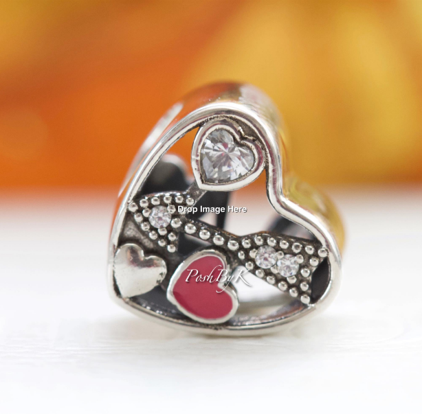 Pandora Struck By Love, Magenta Enamel & Clear CZ Charm 792039CZ - Posh By K