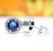 Pandora Blue Round Sparkle Stud Earrings 296272C01 - Posh By K