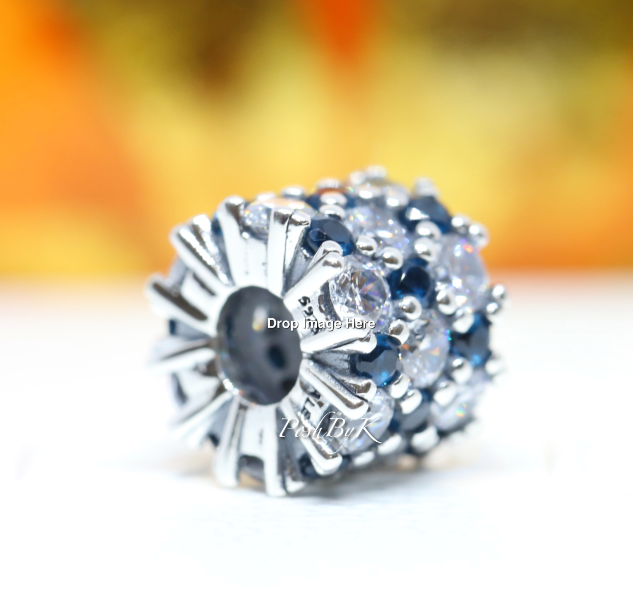 Pandora Blue and Clear Sparkle Charm 798487C02 - Posh By K