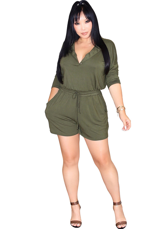 Kara Long Sleeves Henley Style Pocket Romper, ootd,fashion Clothing,womens clothes,fashion blog,fashion trends, Streetwear ,Stand Out ,Sexy Trend, Online Shopping, green romper , casual romper