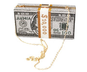 Money Dollar Bill Clutch Purse (Silver) - Posh By K
