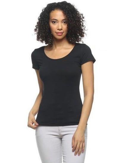 Women's Knit T-Shirts | Model: Queen Crew Neck Knit T-Shirt Top (Black) By: Posh By K
