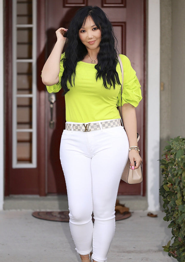 Women's Plus Size Tops | Model: Badie Quarter Sleeve Shirt (Lime Green) By: Posh By K