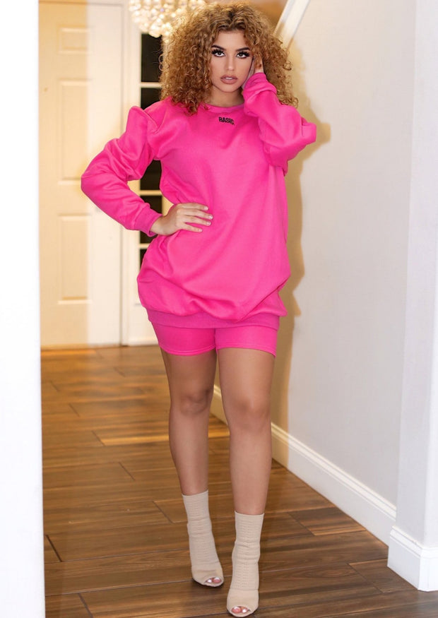 Brayden Fleece Sweater Shirt Dress And Biker Shorts Two Piece Set (Pink), ootd,fashion Clothing,womens clothes,fashion blog,fashion trends,Streetwear ,Stand Out ,Sexy Trend, Online Shopping