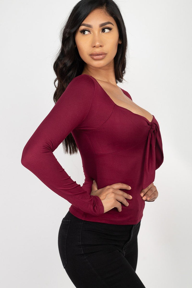 Cadogan Long Sleeves Stretch Knit Sweetheart Neck Tie Front Top (Burgundy) - Posh By K