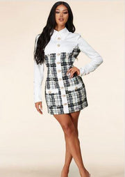 Caracas Collared Neckline Long Sleeve Mini Dress (White), ootd,fashion Clothing,womens clothes,fashion blog,fashion trends,Streetwear ,Stand Out ,Sexy Trend, Online Shopping