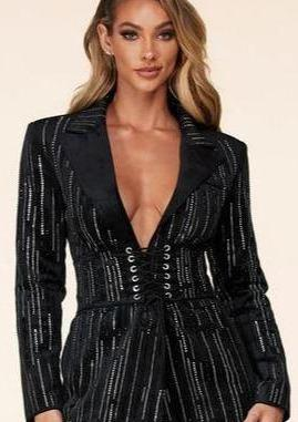 Bernadotte Suede Sequined Long Sleeve Mini Dress With Corset Belt (Black), ootd,fashion Clothing,womens clothes,fashion blog,fashion trends,Streetwear ,Stand Out ,Sexy Trend, Online Shopping
