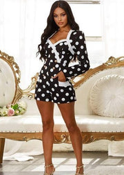 Crishell Polka Dot Long Sleeve Romper, ootd,fashion Clothing,womens clothes,fashion blog,fashion trends,Streetwear ,Stand Out ,Sexy Trend, Online Shopping