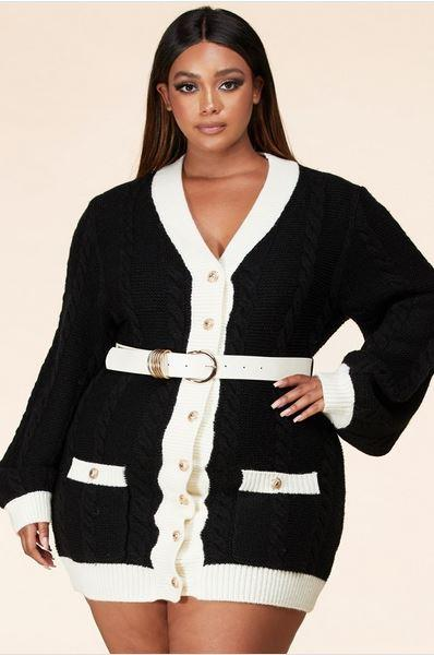 Kreeli Plus Size Cable Knit Mini Cardigan Dress, ootd,fashion Clothing,womens clothes,fashion blog,fashion trends,Streetwear ,Stand Out ,Sexy Trend, Online Shopping , plus size