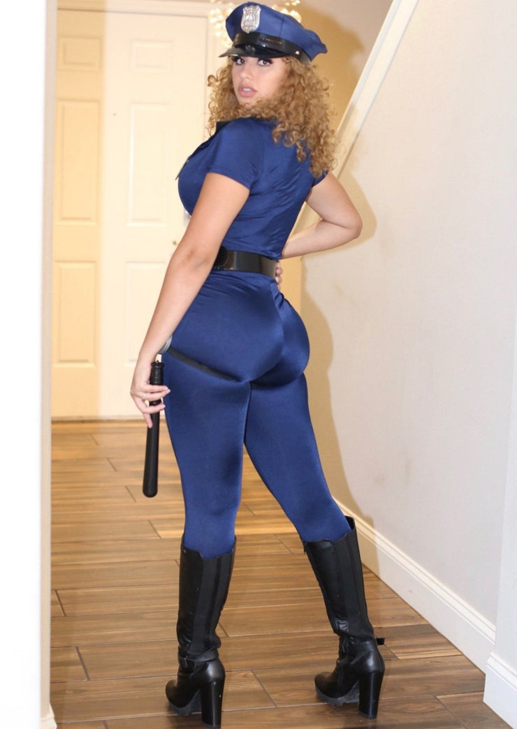 Sibeal Halloween Policewoman Zipper Up Belt Costume Jumpsuit, ootd,fashion Clothing,womens clothes,fashion blog,fashion trends,Streetwear ,Stand Out ,Sexy Trend, Online Shopping , halloween costumes,party costumes, sexy costume