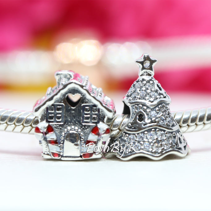 Pandora Twinkling Christmas Tree And Gingerbread House Christmas Gift Set Charm - Posh By K