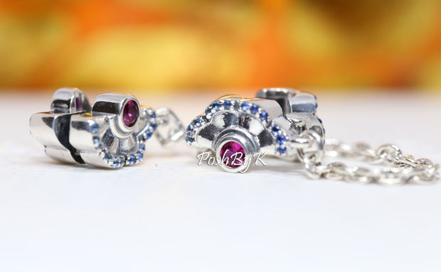 Pandora Blue & Pink Fan Safety Chain Clip Charm 798163SRUMX, pandora jewelry, beads for pandora, beads for pandora bracelets, charms for pandora, beaded jewelry, pandora jewelry, pandora beads, pandora charms
