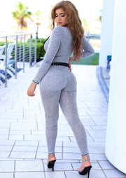 "Godffrey ""Sugar Baby"" Cut Out Long Sleeve Jumpsuit (Grey), ootd,fashion Clothing,womens clothes,fashion blog,fashion trends,Streetwear ,Stand Out ,Sexy Trend, Online Shopping , sexy jumpsuit, casual jumpsuit"