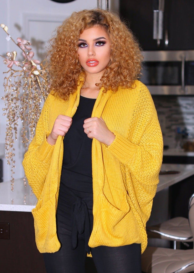 Halina Pattern Knit Dolman Sleeve Solid Slouch Cardigan (Mustard) - Posh By K