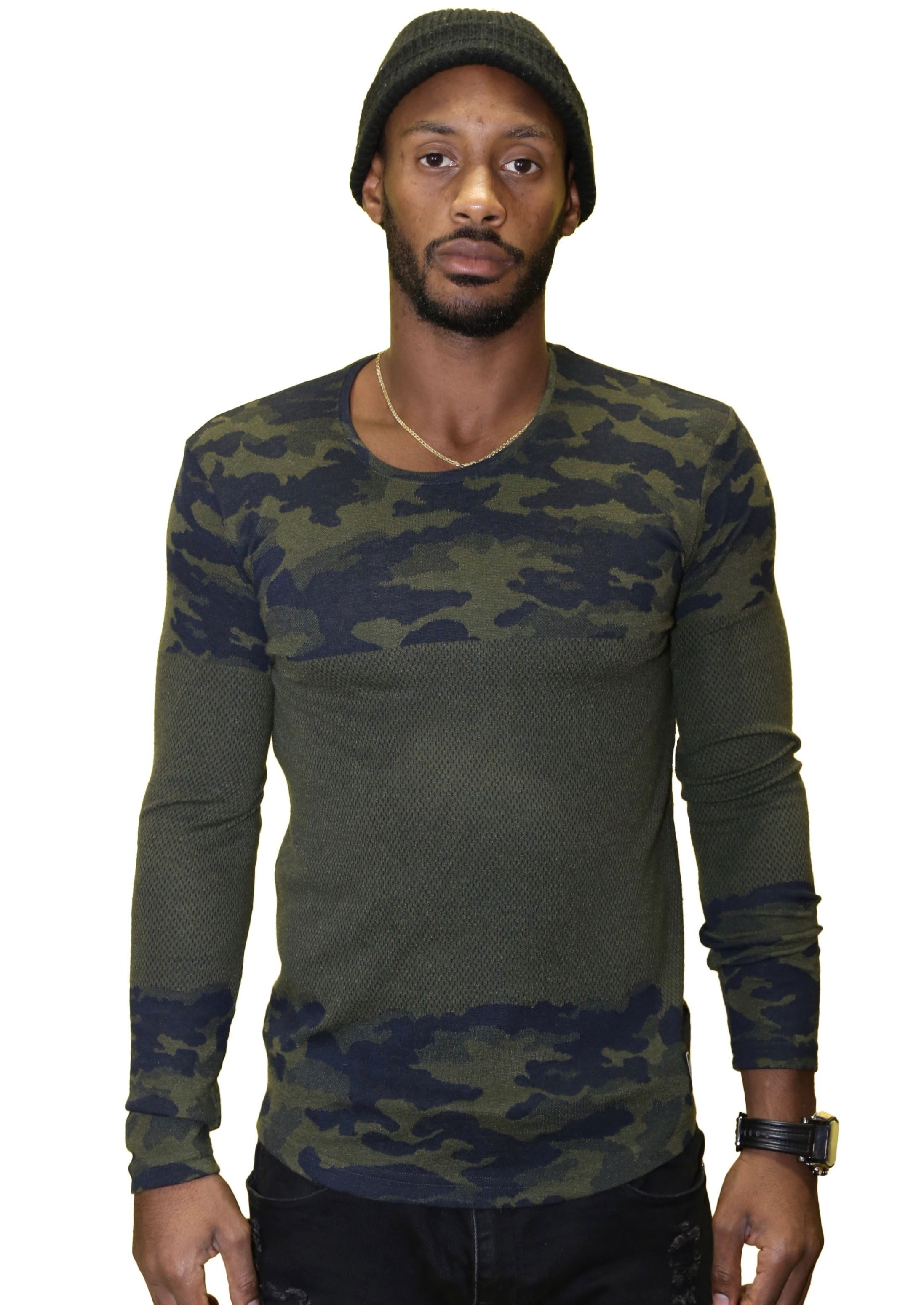 Saw LS European Slim Fit Camouflage Sweater (Army Green) - Posh By K