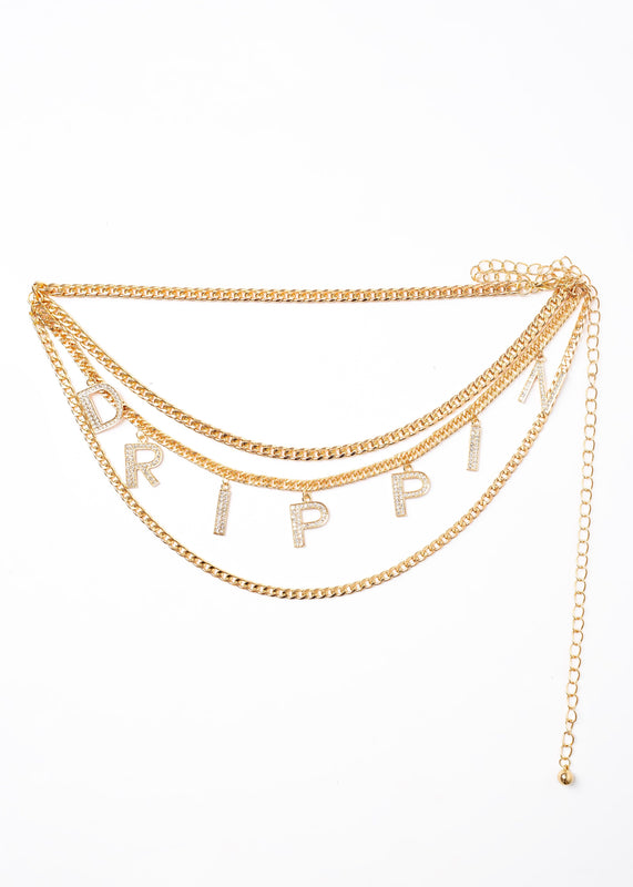 Drippin Gold Plate Double Layer Chain Belt