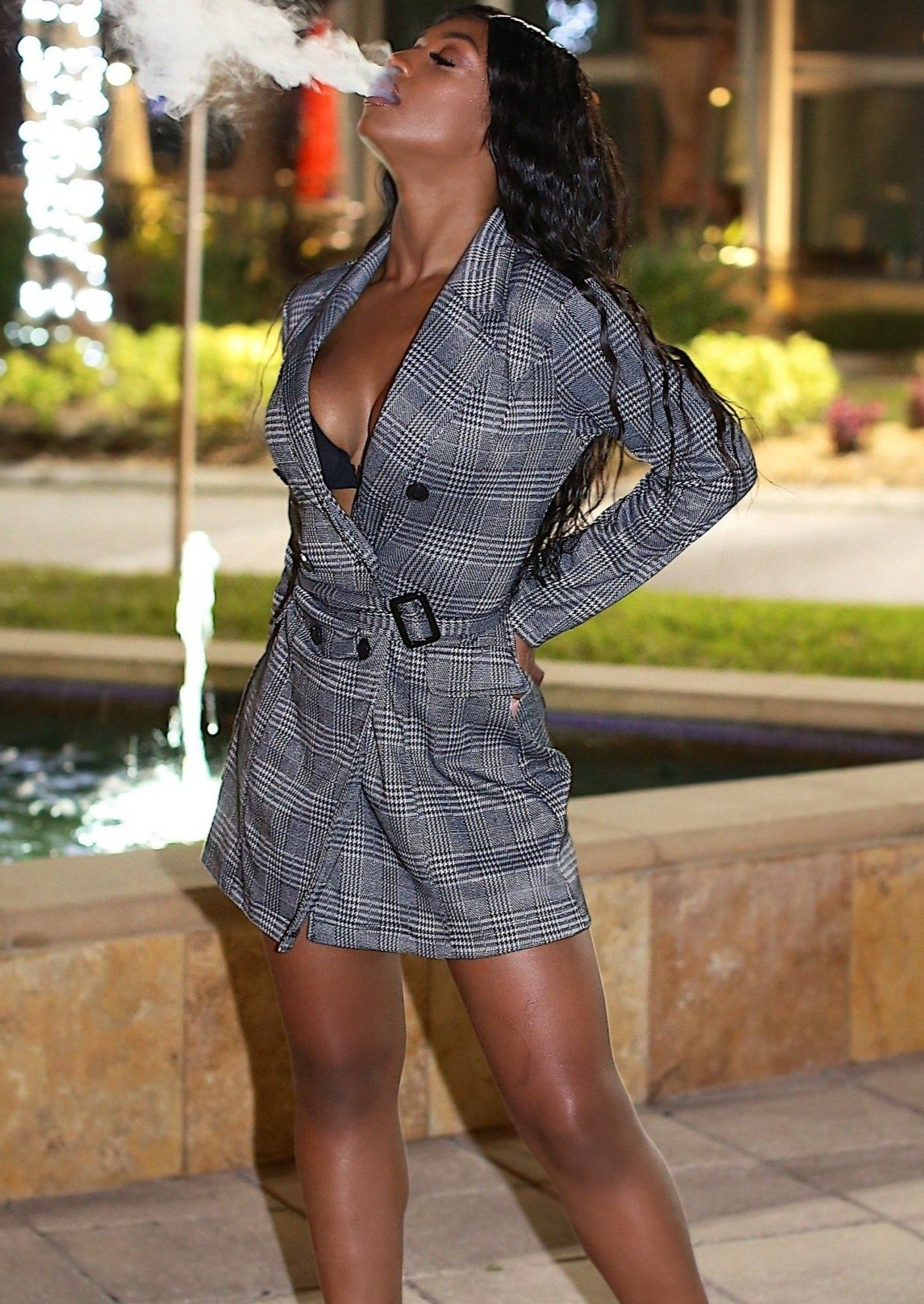 Roshane Glen plaid long line jacket Mini Dress