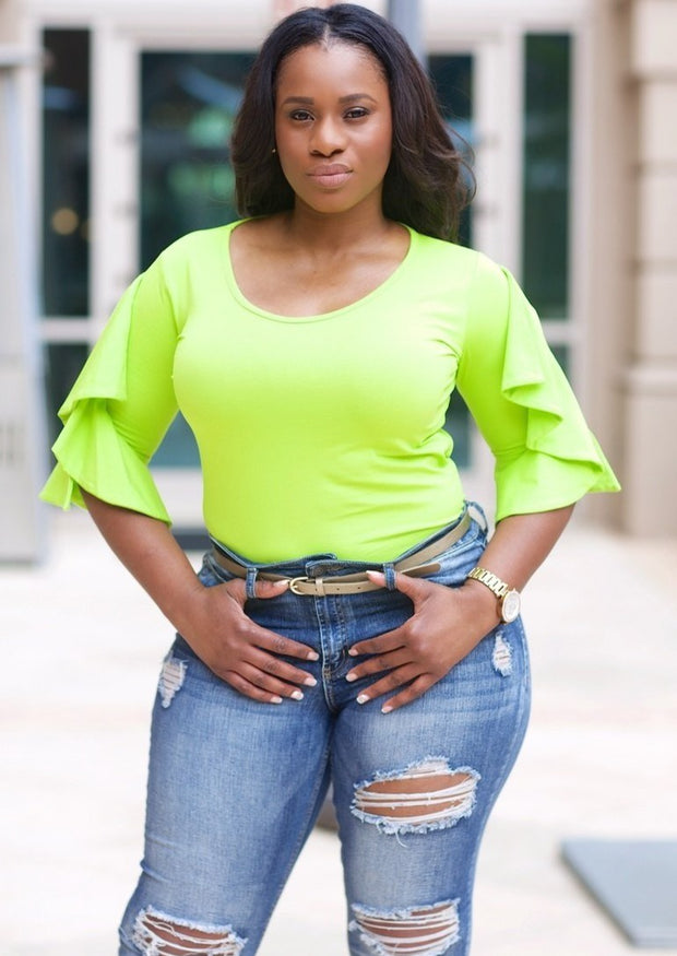 Women's Ruffle Sleeve Tops | Model: Nova Ruffle Sleeve Blouse (Lime Green) By: Posh By K