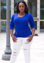 Nina Scoop neck Blouse ( Royal )