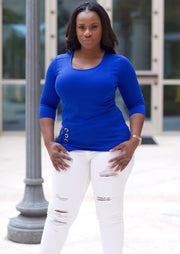 Women's Scoop Neck Tops | Model: Nina Scoop Neck Blouse (Royal) By: Posh By K