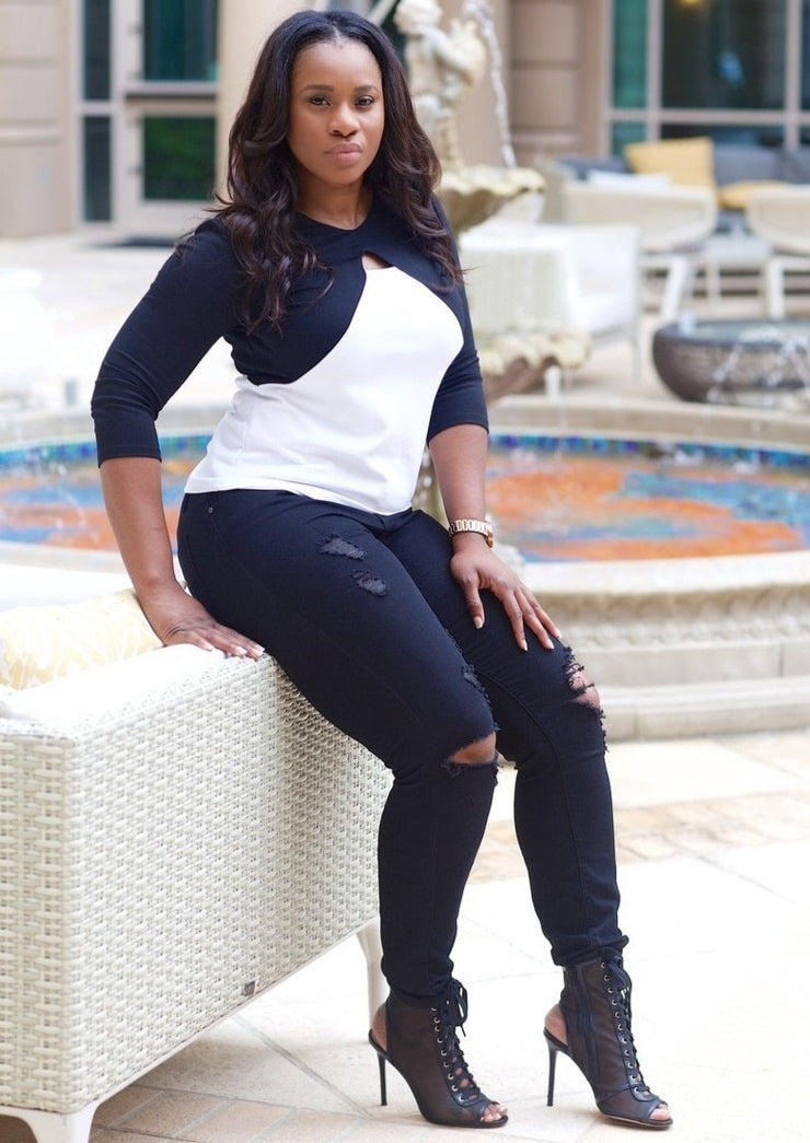 Women's Plus Size Shirts | Model: Tokyo Black and White Shirt By: Posh By K