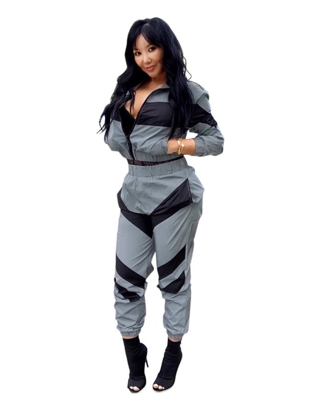 2 Piece Outfit Tracksuit Moto Jacket Jogger Pants Set, cut top and pants two piece set, ootd,fashion Clothing,womens clothes,fashion blog,fashion trends,Streetwear ,Stand Out ,Sexy Trend, Online Shopping, two piece set,