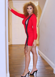 Aiko Red Long Sleeve Solid Mini Dress