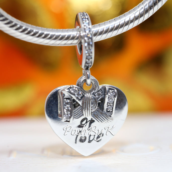 Pandora Bow & Love Heart Charm 799221C01. jewelry, beads for pandora, beads for pandora bracelets, charms for pandora, beaded jewelry, pandora jewelry, pandora beads, pandora charms, disney pandora beads