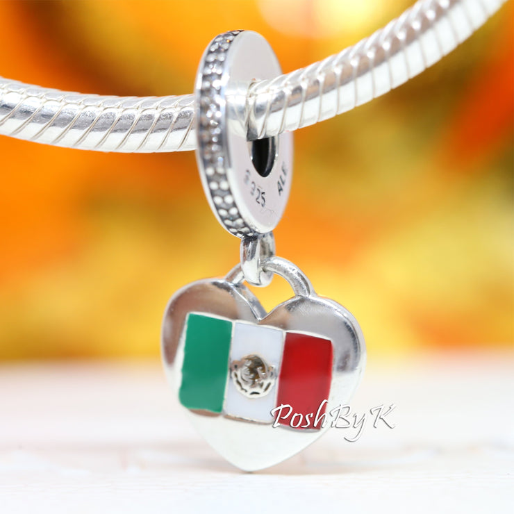 Pandora Love Mexico Flag Heart Charm, pandora jewelry, beads for pandora, beads for pandora bracelets, charms for pandora, beaded jewelry, pandora jewelry, pandora beads, pandora charms