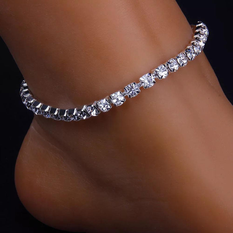 Bling Bling CZ Crystal Rhinestone Tennis Ankle Bracelet (Silver), fashion anklet, body jewelry, ankle jewelry, ootd, trending fashion, simple anklet