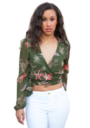Ashley Floral print chiffon tie wrap around cropped top (Olive) - Posh By K