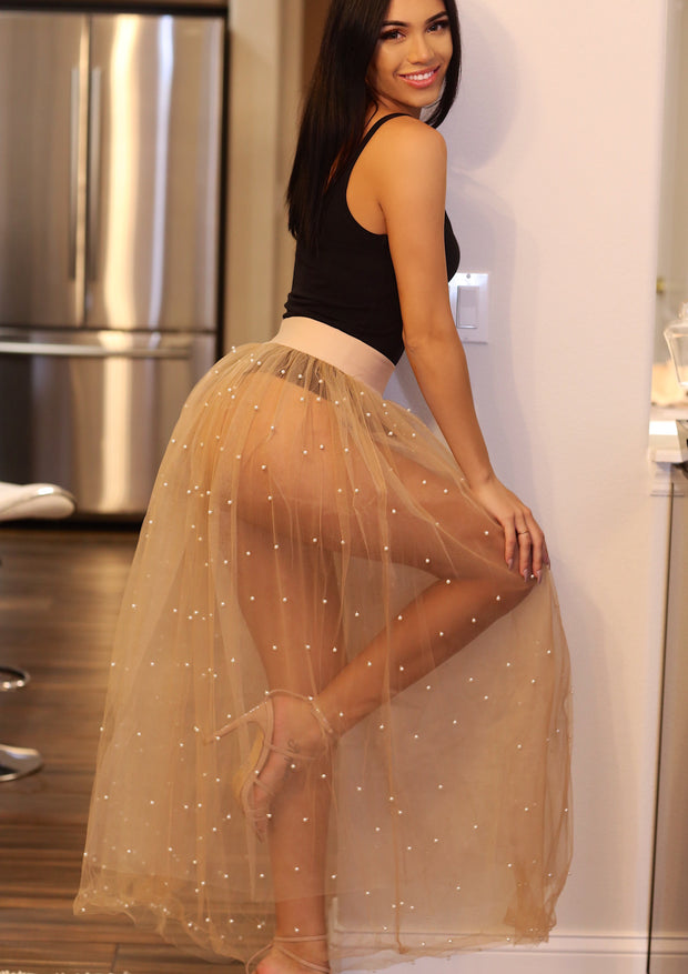 Out Of Touch Mesh Tulle Skirt (Beige) - Posh By K