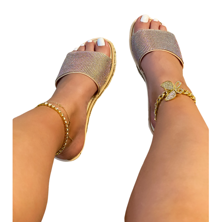 Just Got My Toes Done Flat Sandals - Gold.