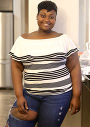 Women's Plus Size Tops | Model: Lala Striped White and Black Top By: Posh By K