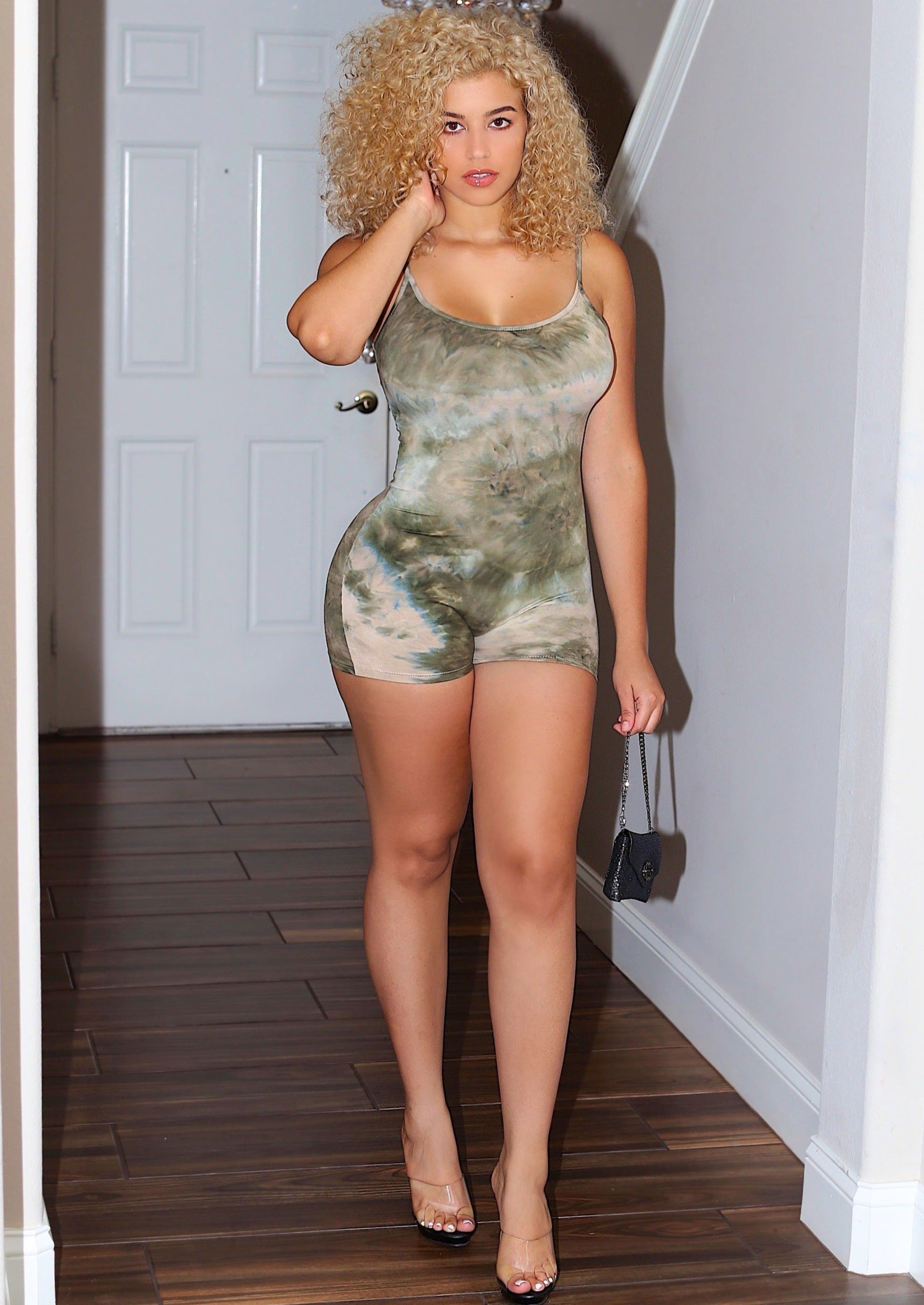 Dynamic Olive Tie-Dye Body-Con Spaghetti Strap Romper, ootd,fashion Clothing,womens clothes,fashion blog,fashion trends,Streetwear ,Stand Out ,Sexy Trend, Online Shopping , sexy romper, casual romper, biker romper, gym wear, sports wear