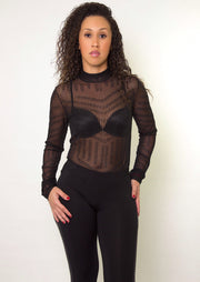 Shine On Me Mesh Studded Bodysuit - Posh By K