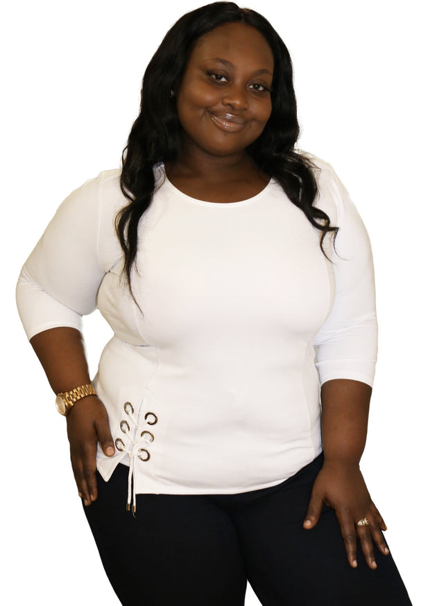 Women's Scoop Neck Tops | Model: Nina Scoop Neck Blouse (White) By: Posh By K