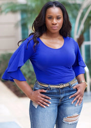 Women's Ruffle Sleeve Tops | Model: Nova Ruffle Sleeve Blouse (Royal Blue) By: Posh By K