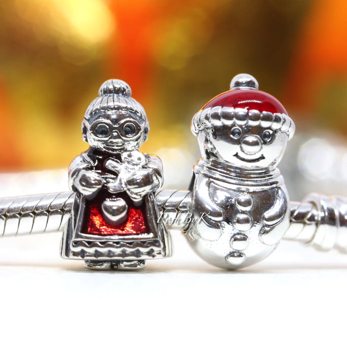Pandora Mrs Santa Claus And Snowman and Santa Hat Christmas Gift Set Charm - Posh By K
