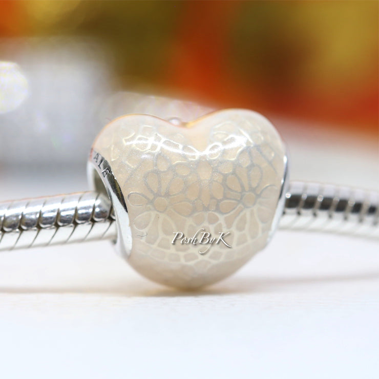 Pandora Pink Bow and Lace Heart Charm 792044ENMX - Posh By K