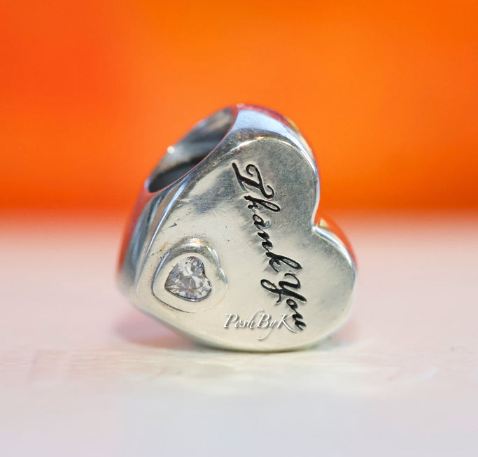 Pandora Polished Thank You Heart Charm 792096CZ - Posh By K
