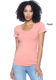 Women's Knit T-Shirts | Model: Queen Crew Neck Knit T-Shirt Top (Peach) By: Posh By K