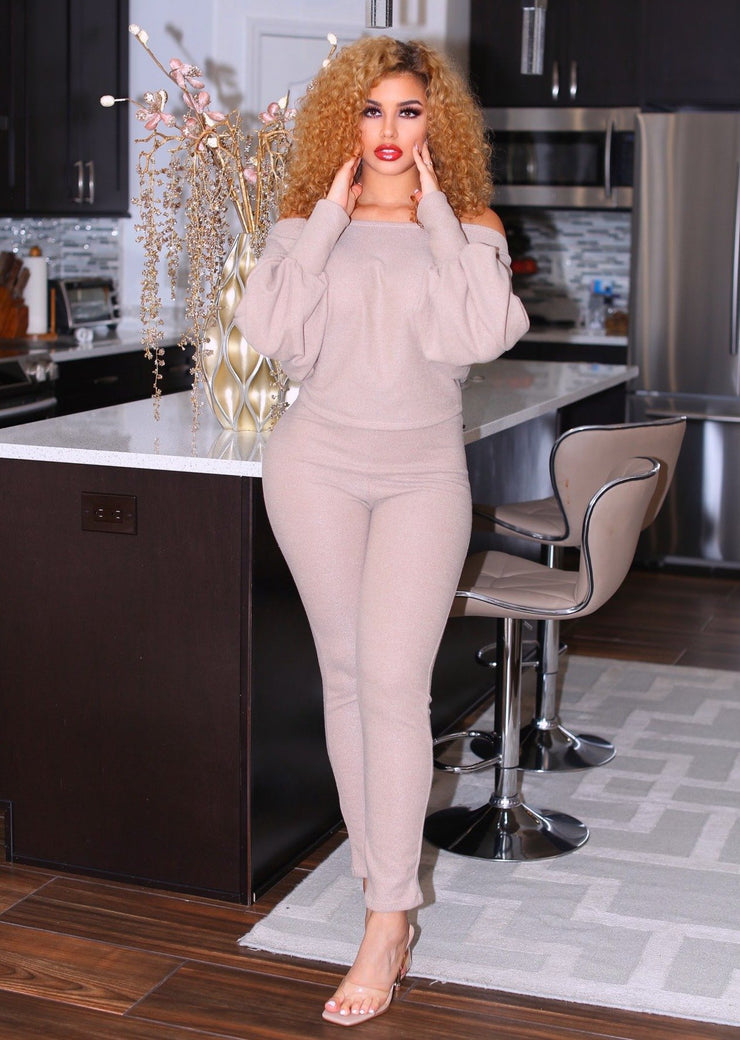 Rubio Long Sleeve Top And Elastic Waist Long Leg Pants Set (Taupe),casual dress,maternity dress,pregnant dress,ootd,fashion Clothing,womens clothes,fashion blog,fashion trends,Streetwear ,Stand Out ,Sexy Trend, Online Shopping